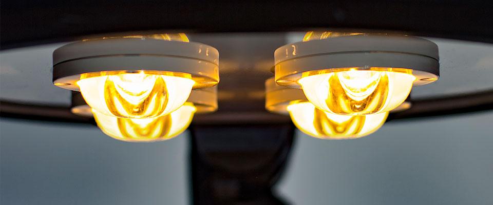 LED5V. Nuestras luminarias. Espacios Públicos. Luminaria ornamental LED Jaca. Ópticas y diodos. Encendido