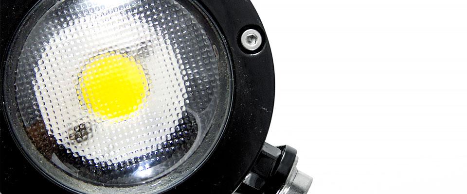 LED5V. Iluminación espacios singulares. Proyector LED David. Contenedor. Detalle LED, cercano