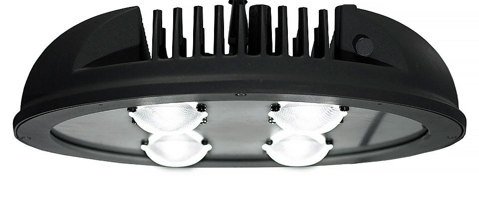 LED5V. Iluminación industrial. Campana Monegros. Contenedor. Detalle ópticas