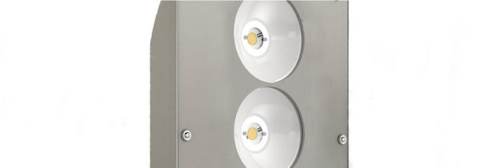 LED5V. Iluminación espacios singulares. Proyector LED Rodio. Contenedor. Ópticas