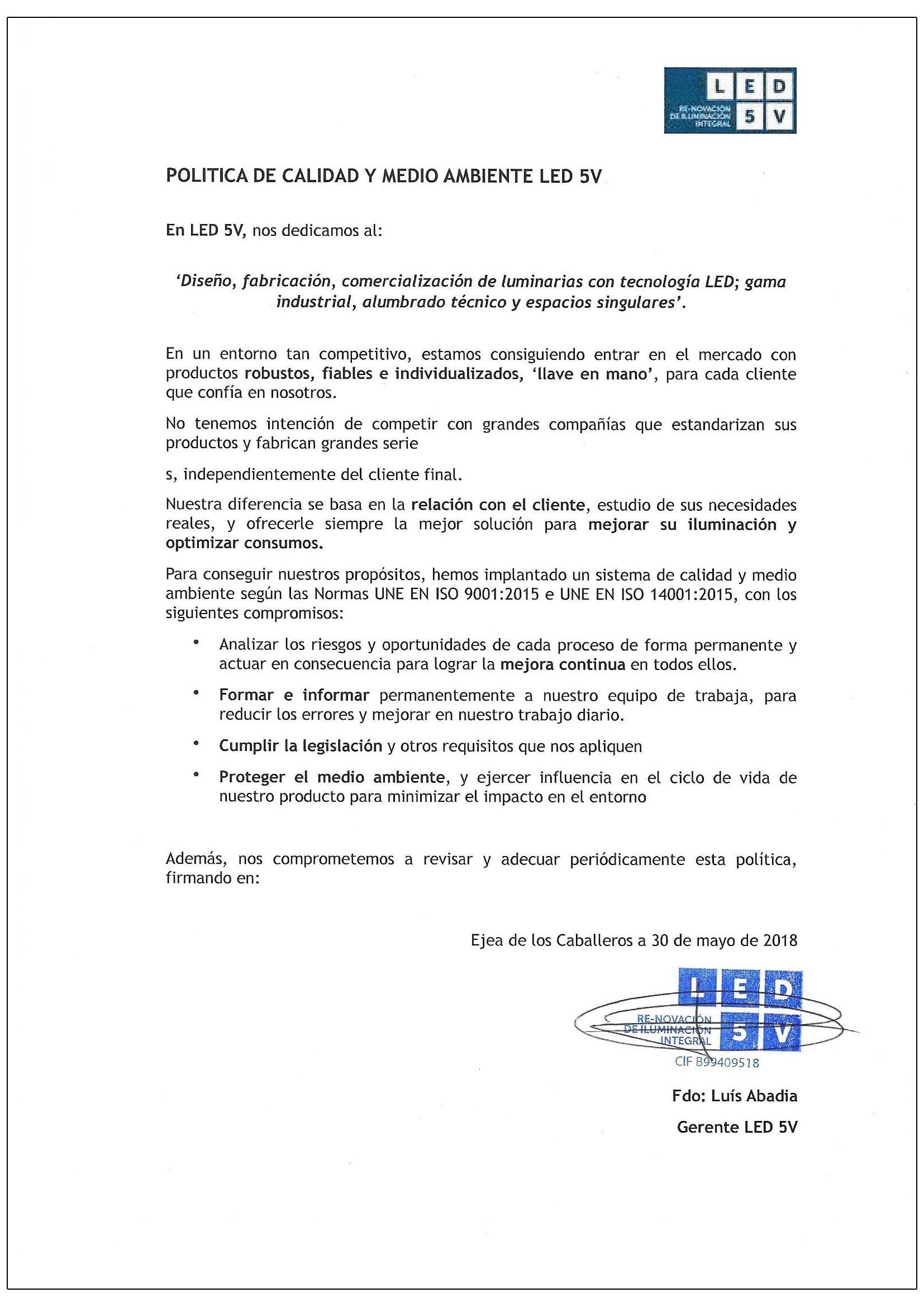 política de calidad de led5v - especialistas en iluminacion led